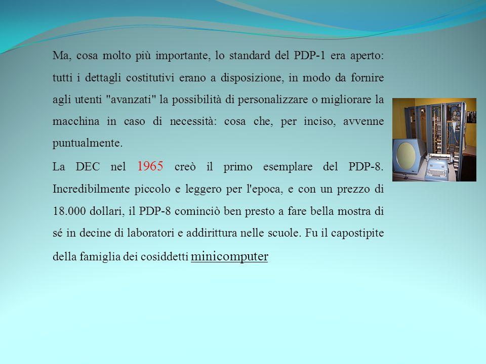 Ma, cosa molto più importante, lo standard del PDP-1 era aperto: tutti i dettagli costitutivi erano a disposizione, in modo da fornire agli utenti