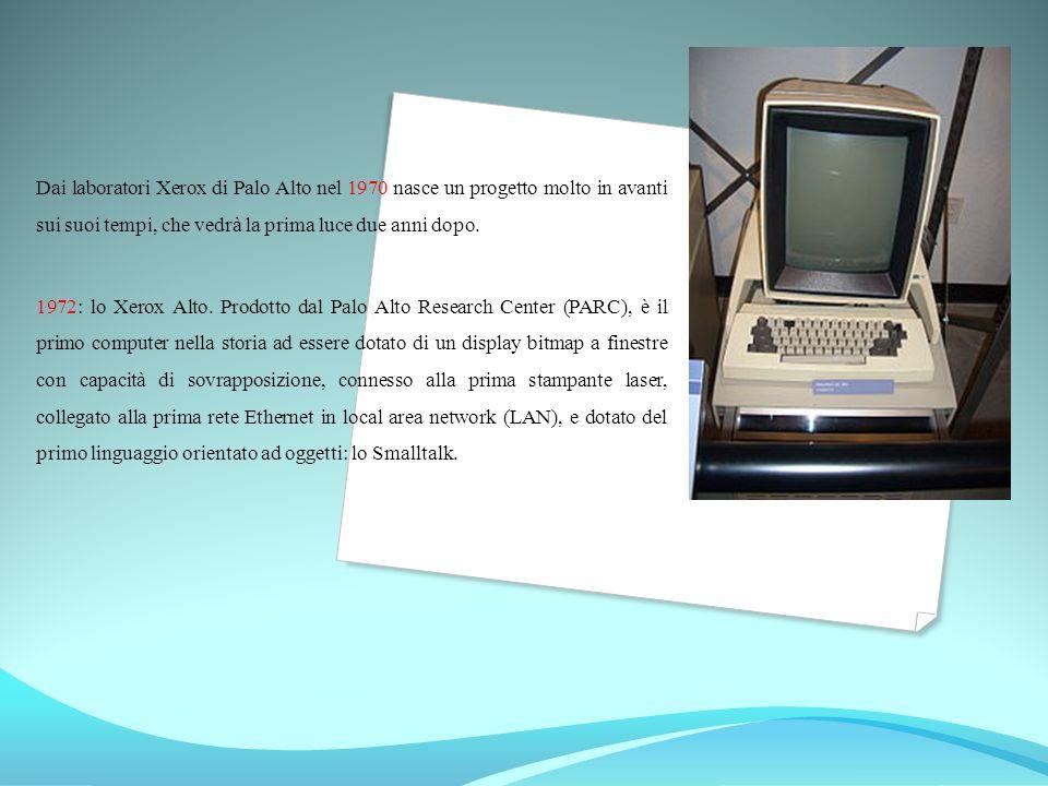 Dai laboratori Xerox di Palo Alto nel 1970 nasce un progetto molto in avanti sui suoi tempi, che vedrà la prima luce due anni dopo. 1972: lo Xerox Alt