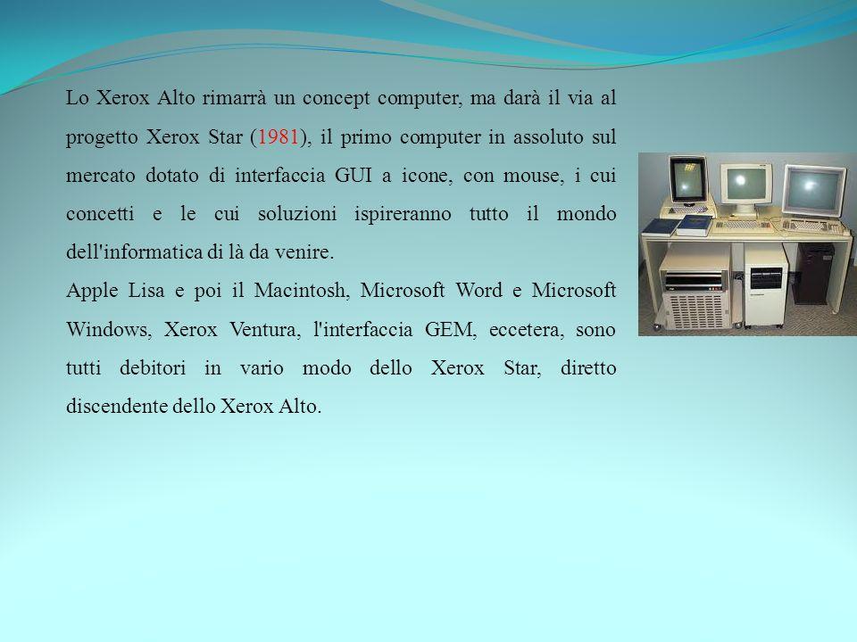 Lo Xerox Alto rimarrà un concept computer, ma darà il via al progetto Xerox Star (1981), il primo computer in assoluto sul mercato dotato di interfacc