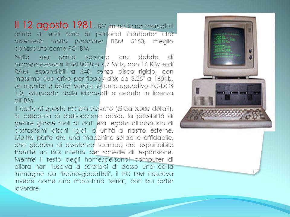 Il 12 agosto 1981, IBM immette nel mercato il primo di una serie di personal computer che diventerà molto popolare: l'IBM 5150, meglio conosciuto come