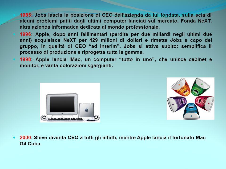 1985: Jobs lascia la posizione di CEO dellazienda da lui fondata, sulla scia di alcuni problemi patiti dagli ultimi computer lanciati sul mercato. Fon