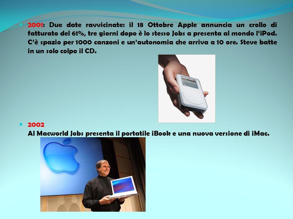 2001: Due date ravvicinate: il 18 Ottobre Apple annuncia un crollo di fatturato del 61%, tre giorni dopo è lo stesso Jobs a presenta al mondo liPod. C