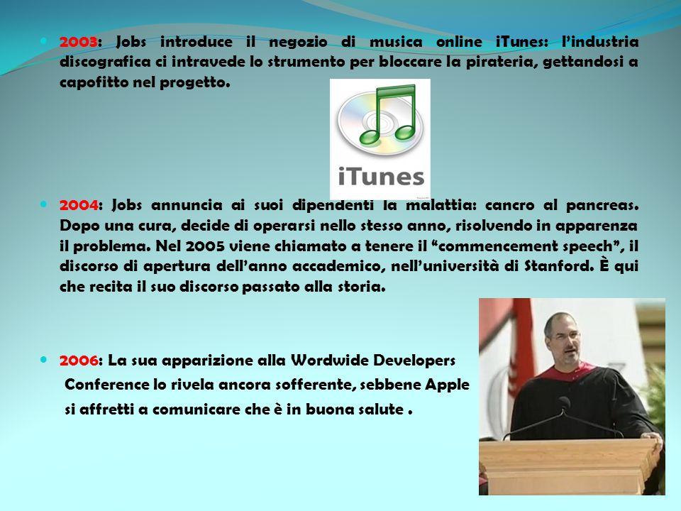 2003: Jobs introduce il negozio di musica online iTunes: lindustria discografica ci intravede lo strumento per bloccare la pirateria, gettandosi a cap