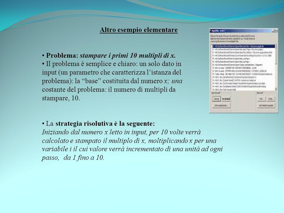 Altro esempio elementare Problema: stampare i primi 10 multipli di x. Il problema è semplice e chiaro: un solo dato in input (un parametro che caratte