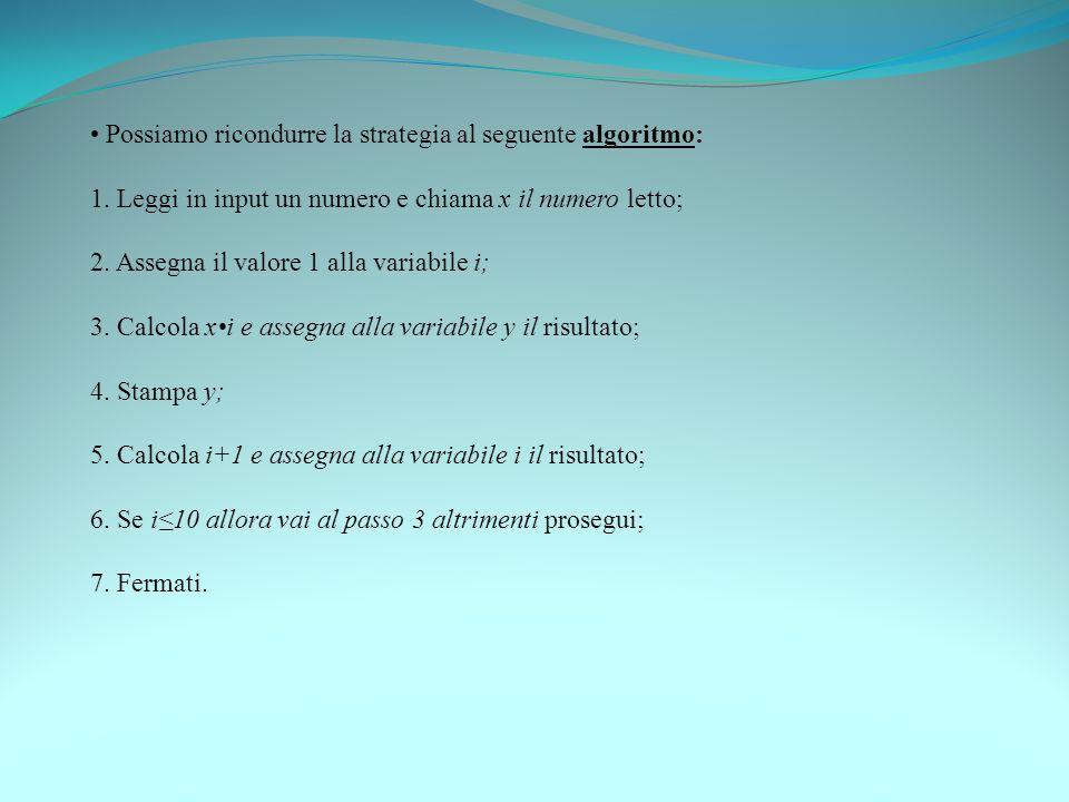 Possiamo ricondurre la strategia al seguente algoritmo: 1. Leggi in input un numero e chiama x il numero letto; 2. Assegna il valore 1 alla variabile