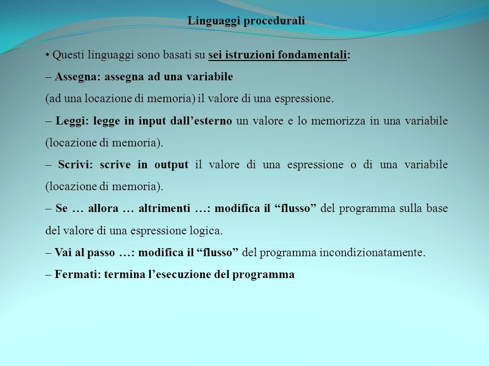 Linguaggi procedurali Questi linguaggi sono basati su sei istruzioni fondamentali: – Assegna: assegna ad una variabile (ad una locazione di memoria) i