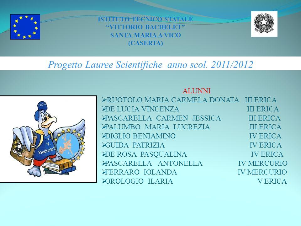 Progetto Lauree Scientifiche anno scol. 2011/2012 ISTITUTO TECNICO STATALE VITTORIO BACHELET SANTA MARIA A VICO (CASERTA) ALUNNI RUOTOLO MARIA CARMELA