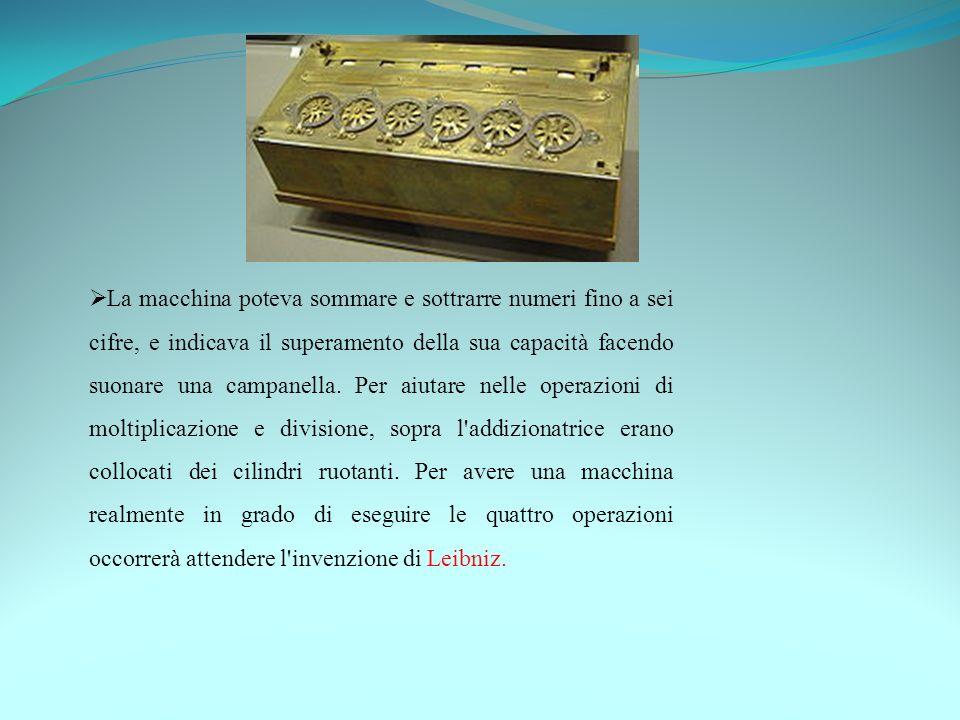 La macchina poteva sommare e sottrarre numeri fino a sei cifre, e indicava il superamento della sua capacità facendo suonare una campanella. Per aiuta