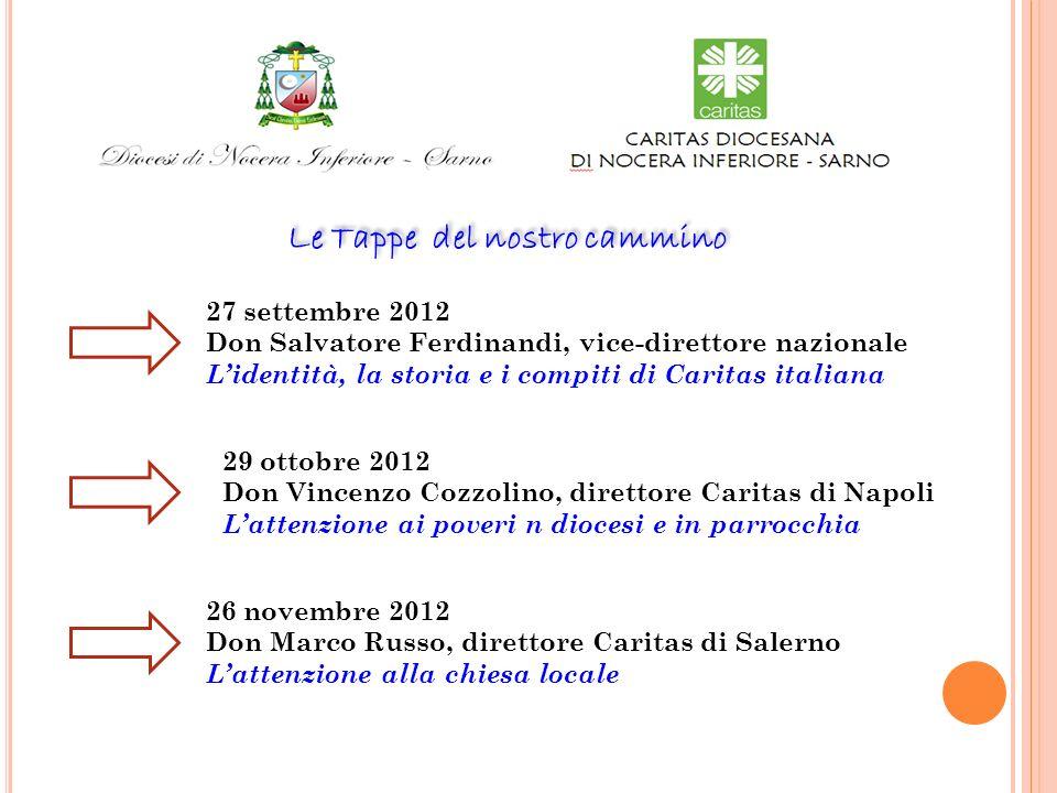 Le Tappe del nostro cammino 27 settembre 2012 Don Salvatore Ferdinandi, vice-direttore nazionale Lidentità, la storia e i compiti di Caritas italiana