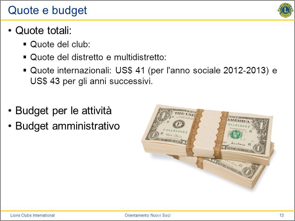 13Lions Clubs InternationalOrientamento Nuovi Soci Quote e budget Quote totali: Quote del club: Quote del distretto e multidistretto: Quote internazio