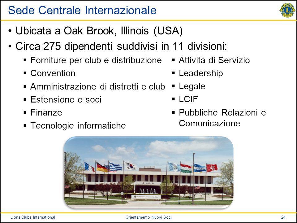 24Lions Clubs InternationalOrientamento Nuovi Soci Sede Centrale Internazionale Ubicata a Oak Brook, Illinois (USA) Circa 275 dipendenti suddivisi in