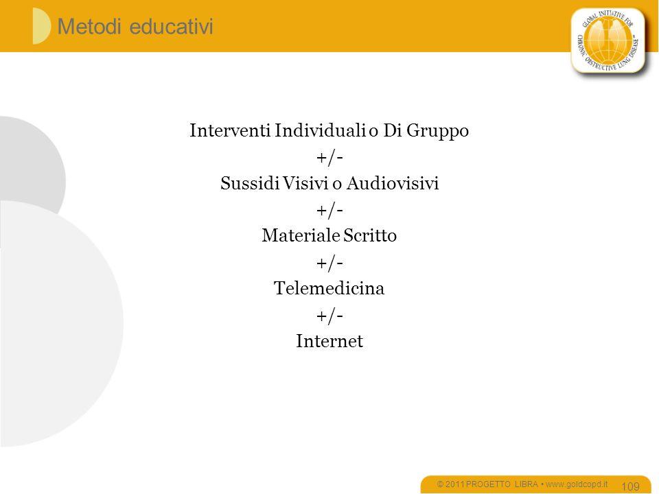 © 2011 PROGETTO LIBRA www.goldcopd.it Metodi educativi Interventi Individuali o Di Gruppo +/- Sussidi Visivi o Audiovisivi +/- Materiale Scritto +/- Telemedicina +/- Internet 109