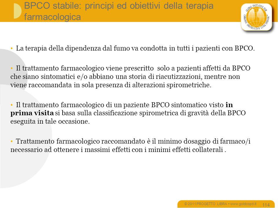 BPCO stabile: principi ed obiettivi della terapia farmacologica © 2011 PROGETTO LIBRA www.goldcopd.it 114 La terapia della dipendenza dal fumo va condotta in tutti i pazienti con BPCO.