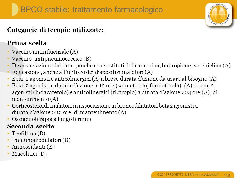 BPCO stabile: trattamento farmacologico © 2011 PROGETTO LIBRA www.goldcopd.it 118 Categorie di terapie utilizzate: Prima scelta Vaccino antinfluenzale (A) Vaccino antipneumococcico (B) Disassuefazione dal fumo, anche con sostituti della nicotina, bupropione, vareniclina (A) Educazione, anche allutilizzo dei dispositivi inalatori (A) Beta-2 agonisti e anticolinergici (A) a breve durata dazione da usare al bisogno (A) Beta-2 agonisti a durata dazione > 12 ore (salmeterolo, formoterolo) (A) o beta-2 agonisti (indacaterolo) e anticolinergici (tiotropio) a durata dazione >24 ore (A), di mantenimento (A) Corticosteroidi inalatori in associazione ai broncodilatatori beta2 agonisti a durata dazione > 12 ore di mantenimento (A) Ossigenoterapia a lungo termine Seconda scelta Teofillina (B) Immunomodulatori (B) Antiossidanti (B) Mucolitici (D)