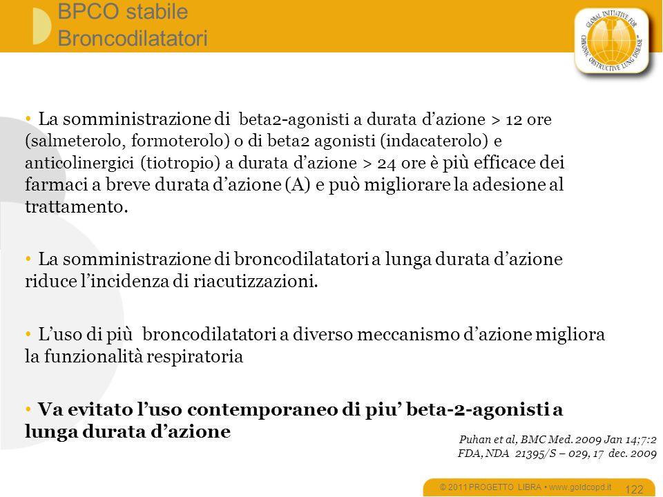BPCO stabile Broncodilatatori © 2011 PROGETTO LIBRA www.goldcopd.it 122 La somministrazione di beta2-agonisti a durata dazione > 12 ore (salmeterolo, formoterolo) o di beta2 agonisti (indacaterolo) e anticolinergici (tiotropio) a durata dazione > 24 ore è più efficace dei farmaci a breve durata dazione (A) e può migliorare la adesione al trattamento.