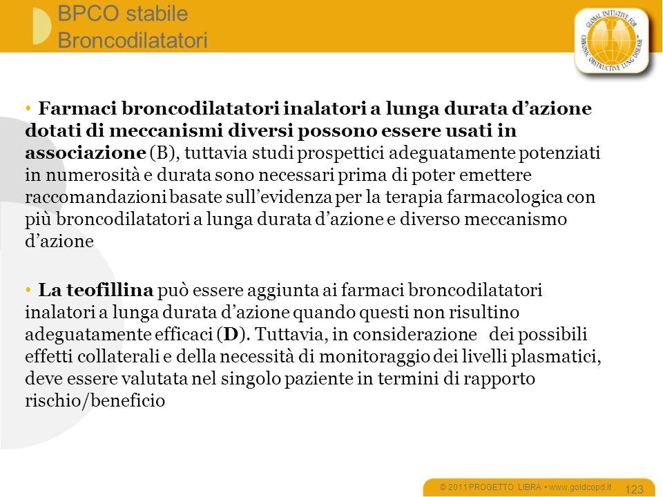 BPCO stabile Broncodilatatori © 2011 PROGETTO LIBRA www.goldcopd.it 123 Farmaci broncodilatatori inalatori a lunga durata dazione dotati di meccanismi diversi possono essere usati in associazione (B), tuttavia studi prospettici adeguatamente potenziati in numerosità e durata sono necessari prima di poter emettere raccomandazioni basate sullevidenza per la terapia farmacologica con più broncodilatatori a lunga durata dazione e diverso meccanismo dazione La teofillina può essere aggiunta ai farmaci broncodilatatori inalatori a lunga durata dazione quando questi non risultino adeguatamente efficaci (D).