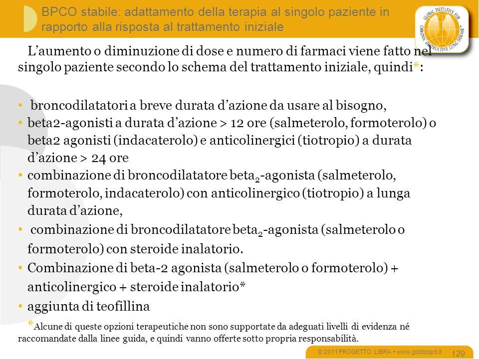 BPCO stabile: adattamento della terapia al singolo paziente in rapporto alla risposta al trattamento iniziale © 2011 PROGETTO LIBRA www.goldcopd.it 129 Laumento o diminuzione di dose e numero di farmaci viene fatto nel singolo paziente secondo lo schema del trattamento iniziale, quindi*: broncodilatatori a breve durata dazione da usare al bisogno, beta2-agonisti a durata dazione > 12 ore (salmeterolo, formoterolo) o beta2 agonisti (indacaterolo) e anticolinergici (tiotropio) a durata dazione > 24 ore combinazione di broncodilatatore beta 2 -agonista (salmeterolo, formoterolo, indacaterolo) con anticolinergico (tiotropio) a lunga durata dazione, combinazione di broncodilatatore beta 2 -agonista (salmeterolo o formoterolo) con steroide inalatorio.