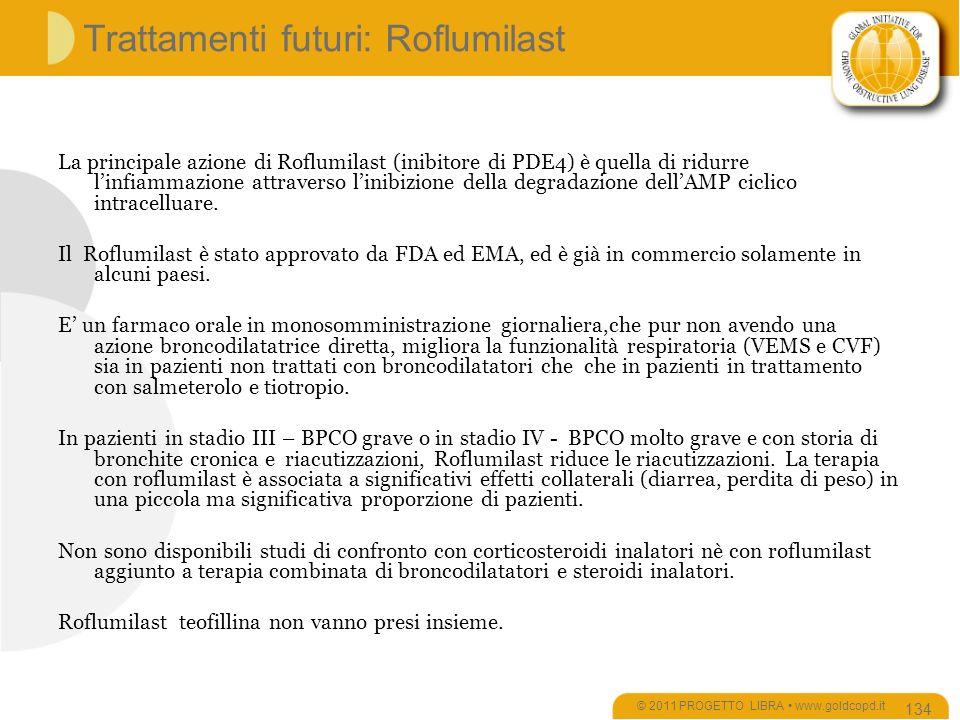 Trattamenti futuri: Roflumilast La principale azione di Roflumilast (inibitore di PDE4) è quella di ridurre linfiammazione attraverso linibizione della degradazione dellAMP ciclico intracelluare.