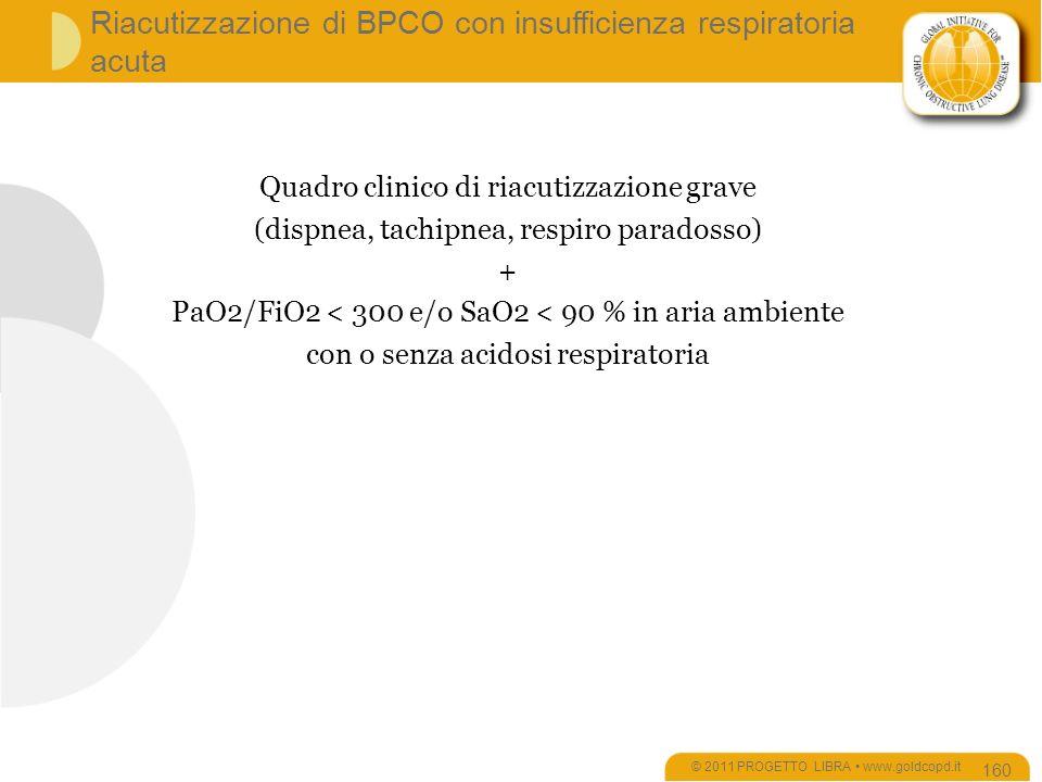 Riacutizzazione di BPCO con insufficienza respiratoria acuta © 2011 PROGETTO LIBRA www.goldcopd.it 160 Quadro clinico di riacutizzazione grave (dispnea, tachipnea, respiro paradosso) + PaO2/FiO2 < 300 e/o SaO2 < 90 % in aria ambiente con o senza acidosi respiratoria