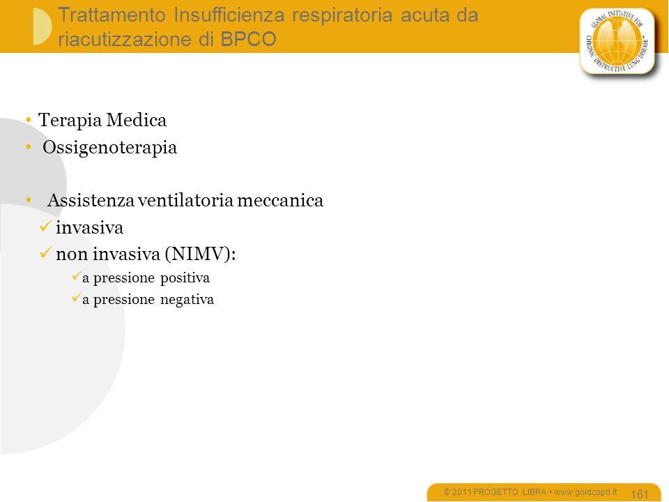 Trattamento Insufficienza respiratoria acuta da riacutizzazione di BPCO © 2011 PROGETTO LIBRA www.goldcopd.it 161 Terapia Medica Ossigenoterapia Assistenza ventilatoria meccanica invasiva non invasiva (NIMV): a pressione positiva a pressione negativa