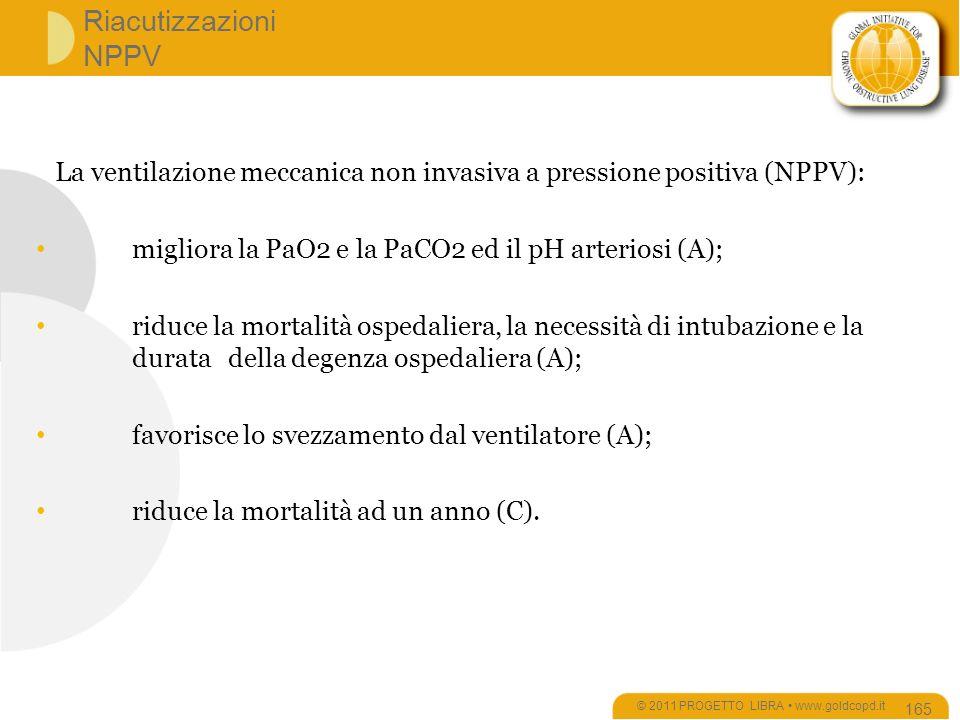 Riacutizzazioni NPPV © 2011 PROGETTO LIBRA www.goldcopd.it 165 La ventilazione meccanica non invasiva a pressione positiva (NPPV): migliora la PaO2 e la PaCO2 ed il pH arteriosi (A); riduce la mortalità ospedaliera, la necessità di intubazione e la durata della degenza ospedaliera (A); favorisce lo svezzamento dal ventilatore (A); riduce la mortalità ad un anno (C).