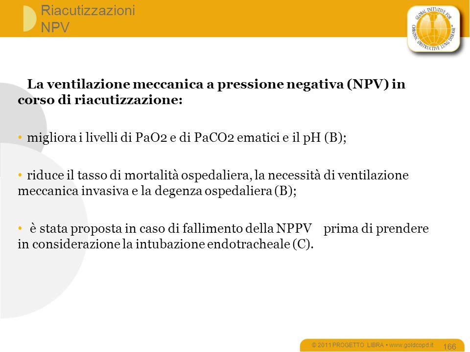 Riacutizzazioni NPV © 2011 PROGETTO LIBRA www.goldcopd.it 166 La ventilazione meccanica a pressione negativa (NPV) in corso di riacutizzazione: migliora i livelli di PaO2 e di PaCO2 ematici e il pH (B); riduce il tasso di mortalità ospedaliera, la necessità di ventilazione meccanica invasiva e la degenza ospedaliera (B); è stata proposta in caso di fallimento della NPPV prima di prendere in considerazione la intubazione endotracheale (C).