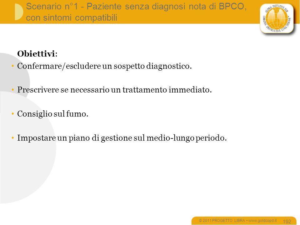 Scenario n°1 - Paziente senza diagnosi nota di BPCO, con sintomi compatibili © 2011 PROGETTO LIBRA www.goldcopd.it 192 Obiettivi: Confermare/escludere un sospetto diagnostico.