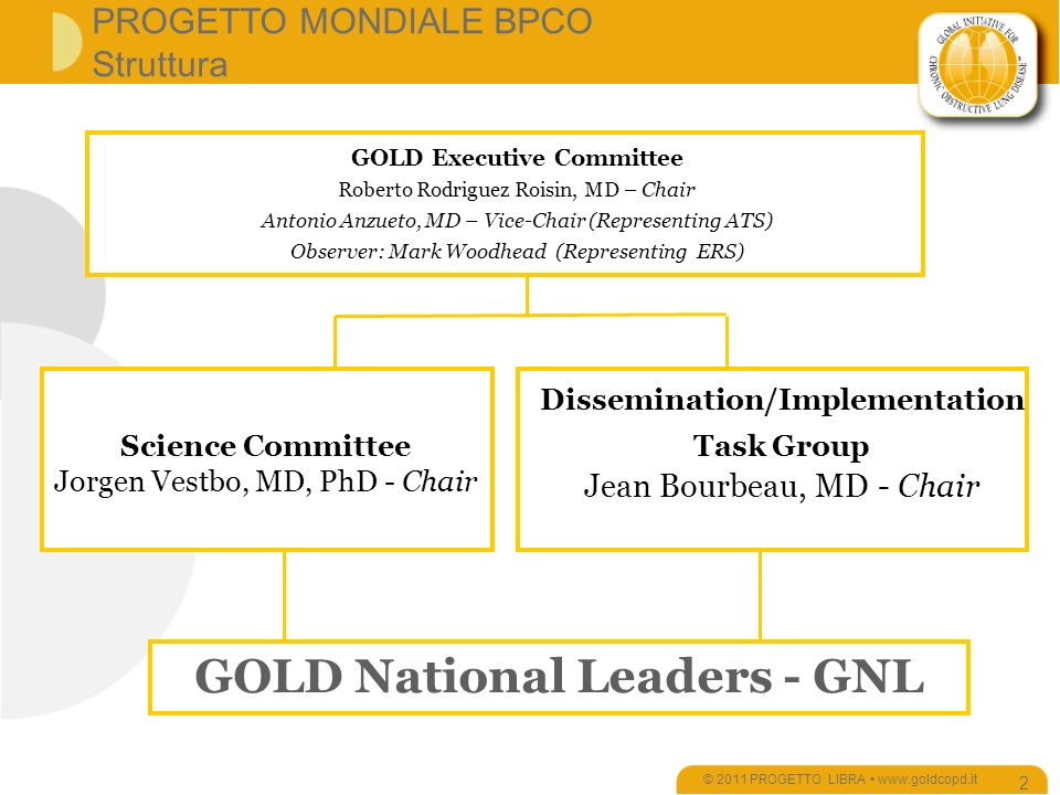 PROGETTO MONDIALE BPCO Struttura © 2011 PROGETTO LIBRA www.goldcopd.it 2 GOLD Executive Committee Roberto Rodriguez Roisin, MD – Chair Antonio Anzueto