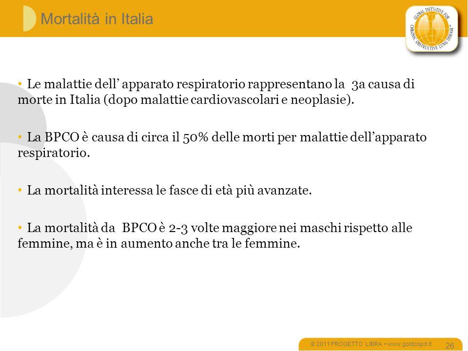 Mortalità in Italia © 2011 PROGETTO LIBRA www.goldcopd.it 26 Le malattie dell apparato respiratorio rappresentano la 3a causa di morte in Italia (dopo malattie cardiovascolari e neoplasie).