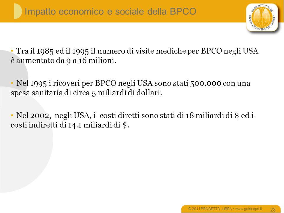 Impatto economico e sociale della BPCO © 2011 PROGETTO LIBRA www.goldcopd.it 28 Tra il 1985 ed il 1995 il numero di visite mediche per BPCO negli USA è aumentato da 9 a 16 milioni.