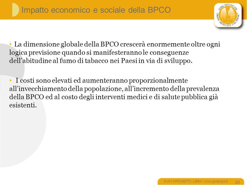 Impatto economico e sociale della BPCO © 2011 PROGETTO LIBRA www.goldcopd.it 29 La dimensione globale della BPCO crescerà enormemente oltre ogni logica previsione quando si manifesteranno le conseguenze dellabitudine al fumo di tabacco nei Paesi in via di sviluppo.