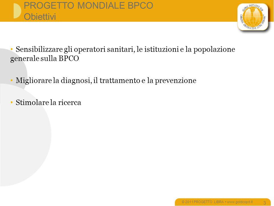 PROGETTO MONDIALE BPCO Obiettivi © 2011 PROGETTO LIBRA www.goldcopd.it 3 Sensibilizzare gli operatori sanitari, le istituzioni e la popolazione generale sulla BPCO Migliorare la diagnosi, il trattamento e la prevenzione Stimolare la ricerca