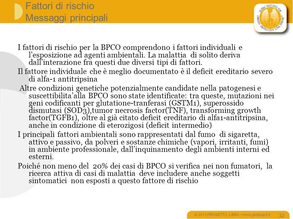 Fattori di rischio Messaggi principali I fattori di rischio per la BPCO comprendono i fattori individuali e lesposizione ad agenti ambientali.