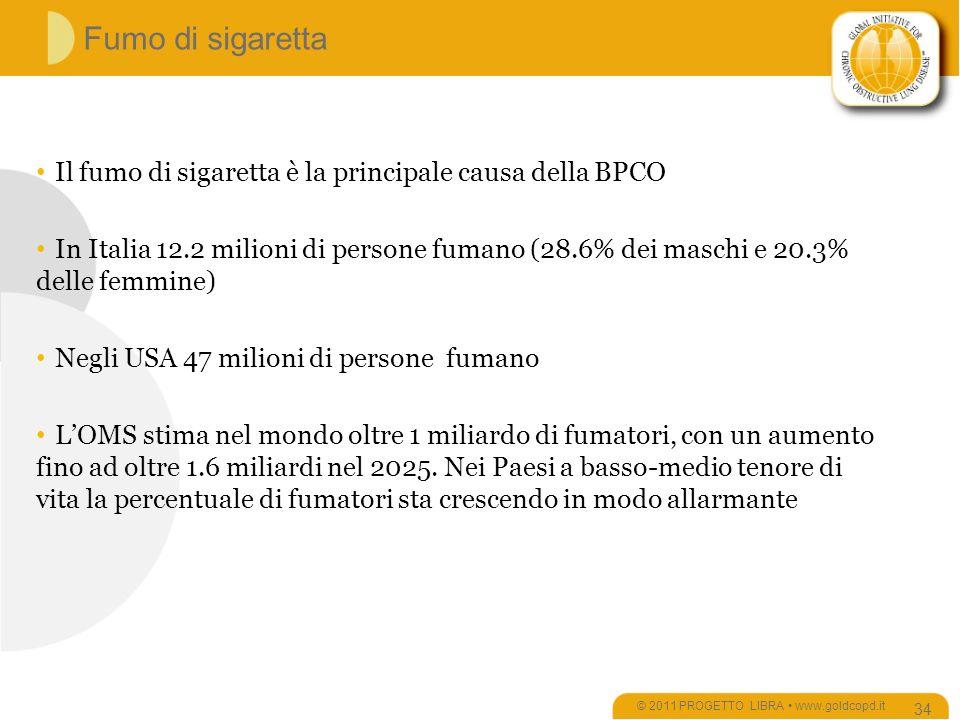 Fumo di sigaretta © 2011 PROGETTO LIBRA www.goldcopd.it 34 Il fumo di sigaretta è la principale causa della BPCO In Italia 12.2 milioni di persone fumano (28.6% dei maschi e 20.3% delle femmine) Negli USA 47 milioni di persone fumano LOMS stima nel mondo oltre 1 miliardo di fumatori, con un aumento fino ad oltre 1.6 miliardi nel 2025.