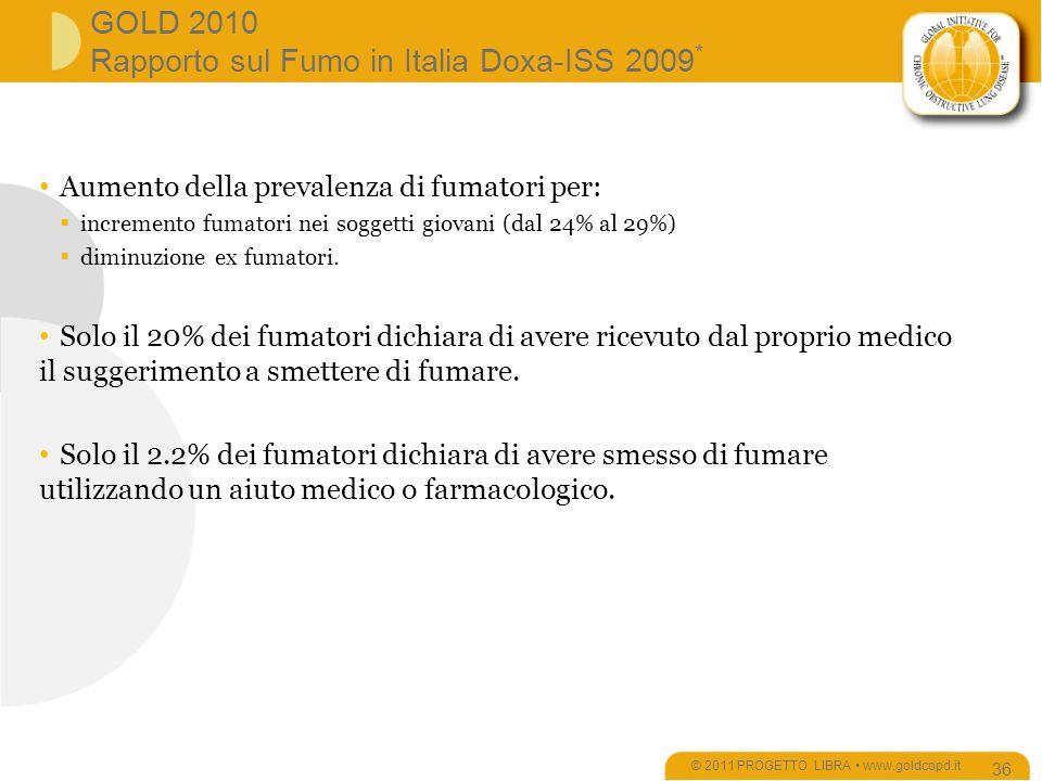 GOLD 2010 Rapporto sul Fumo in Italia Doxa-ISS 2009 * © 2011 PROGETTO LIBRA www.goldcopd.it 36 Aumento della prevalenza di fumatori per: incremento fumatori nei soggetti giovani (dal 24% al 29%) diminuzione ex fumatori.