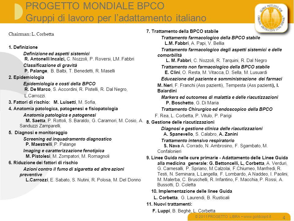 PROGETTO MONDIALE BPCO Gruppi di lavoro per ladattamento italiano © 2011 PROGETTO LIBRA www.goldcopd.it 4 7.