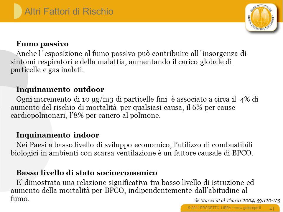 Altri Fattori di Rischio © 2011 PROGETTO LIBRA www.goldcopd.it 41 Fumo passivo Anche l`esposizione al fumo passivo può contribuire all`insorgenza di sintomi respiratori e della malattia, aumentando il carico globale di particelle e gas inalati.