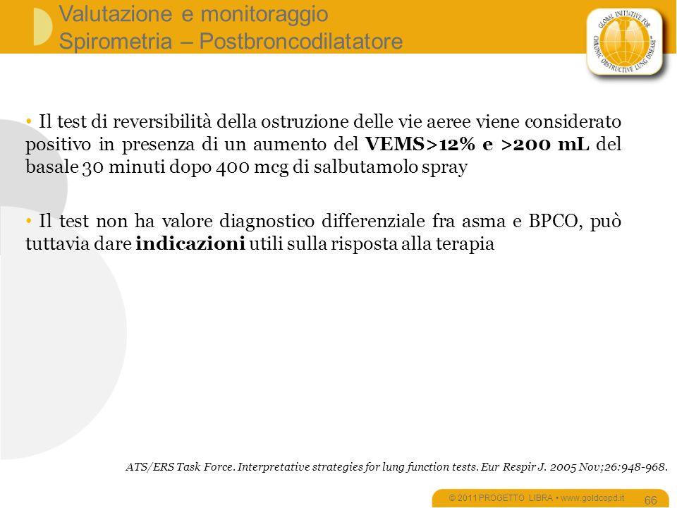 Valutazione e monitoraggio Spirometria – Postbroncodilatatore © 2011 PROGETTO LIBRA www.goldcopd.it 66 Il test di reversibilità della ostruzione delle vie aeree viene considerato positivo in presenza di un aumento del VEMS>12% e >200 mL del basale 30 minuti dopo 400 mcg di salbutamolo spray Il test non ha valore diagnostico differenziale fra asma e BPCO, può tuttavia dare indicazioni utili sulla risposta alla terapia ATS/ERS Task Force.