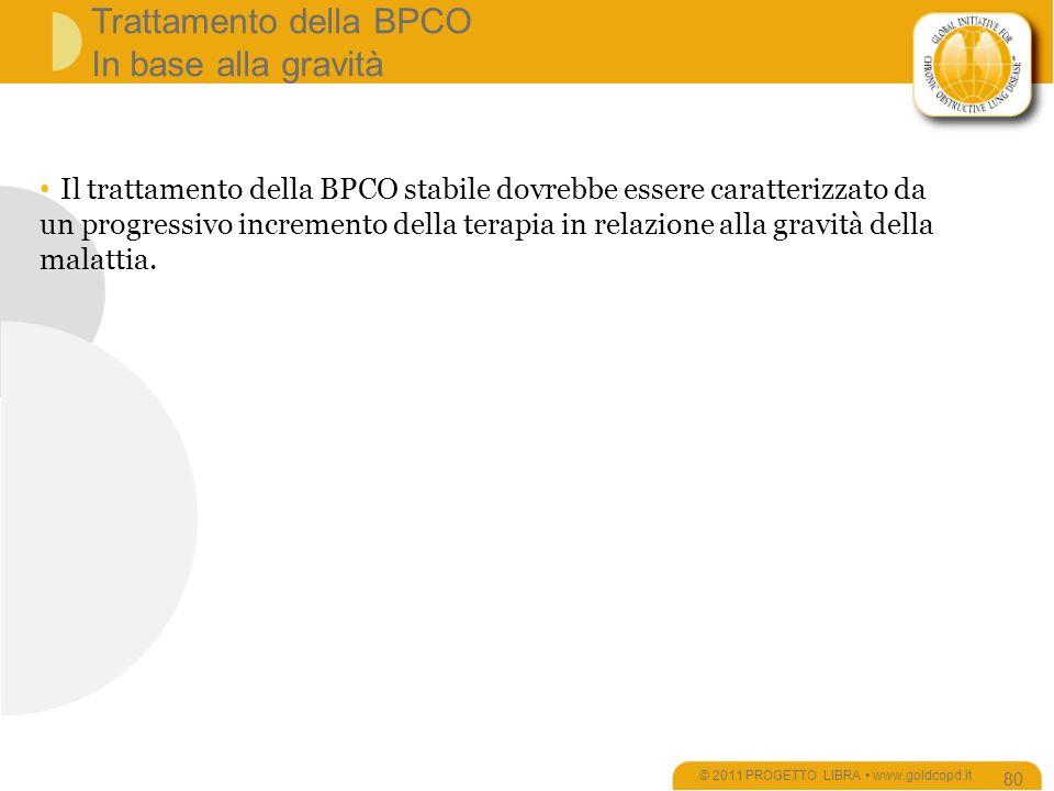 Trattamento della BPCO In base alla gravità © 2011 PROGETTO LIBRA www.goldcopd.it 80 Il trattamento della BPCO stabile dovrebbe essere caratterizzato da un progressivo incremento della terapia in relazione alla gravità della malattia.