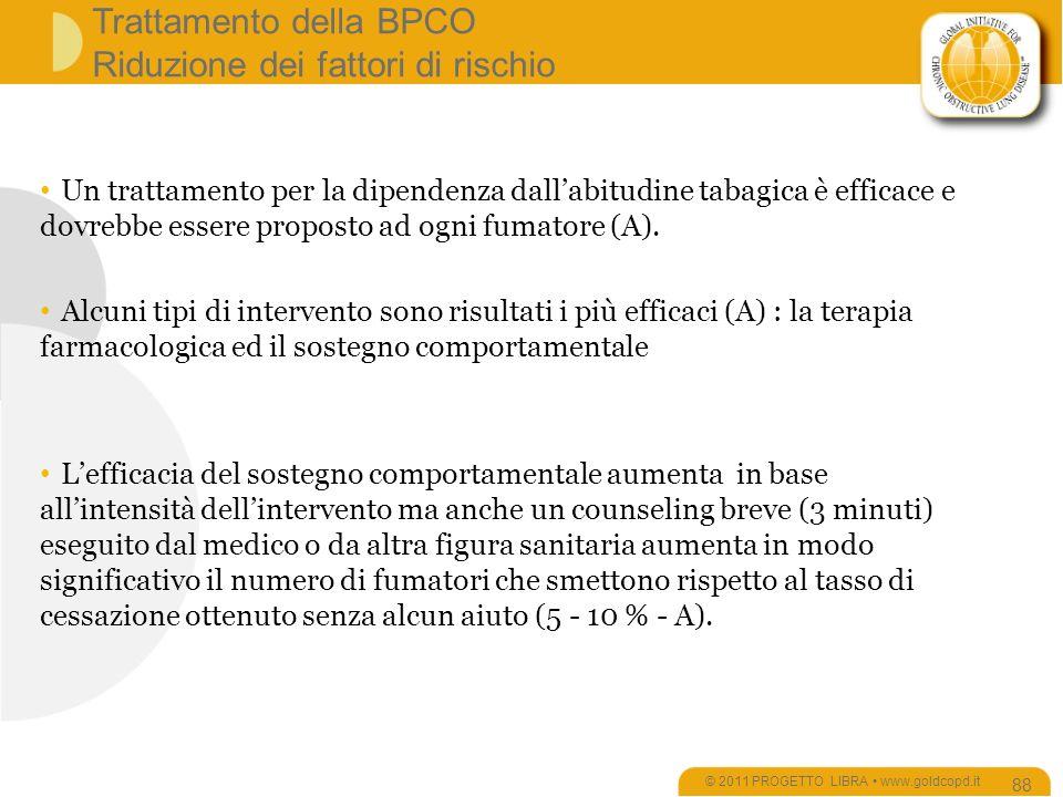 Trattamento della BPCO Riduzione dei fattori di rischio © 2011 PROGETTO LIBRA www.goldcopd.it 88 Un trattamento per la dipendenza dallabitudine tabagica è efficace e dovrebbe essere proposto ad ogni fumatore (A).