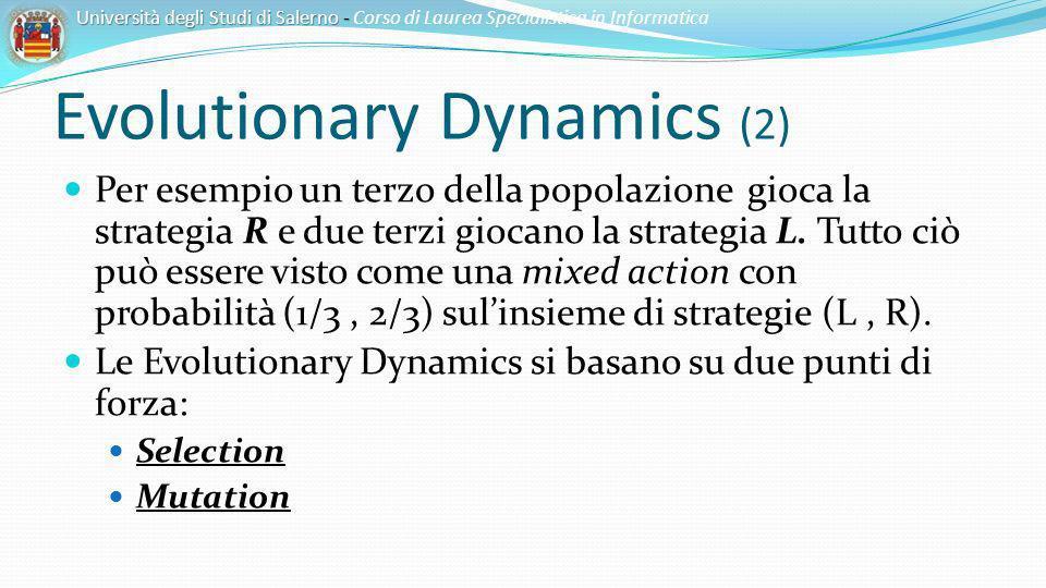 Evolutionary Dynamics (2) Per esempio un terzo della popolazione gioca la strategia R e due terzi giocano la strategia L. Tutto ciò può essere visto c