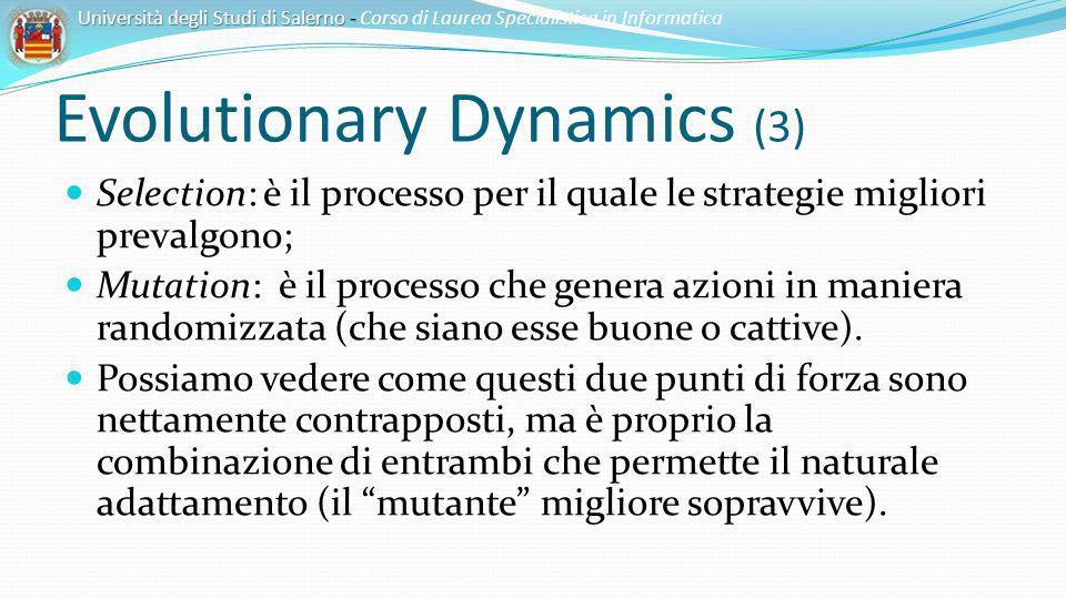 Evolutionary Dynamics (3) Selection: è il processo per il quale le strategie migliori prevalgono; Mutation: è il processo che genera azioni in maniera