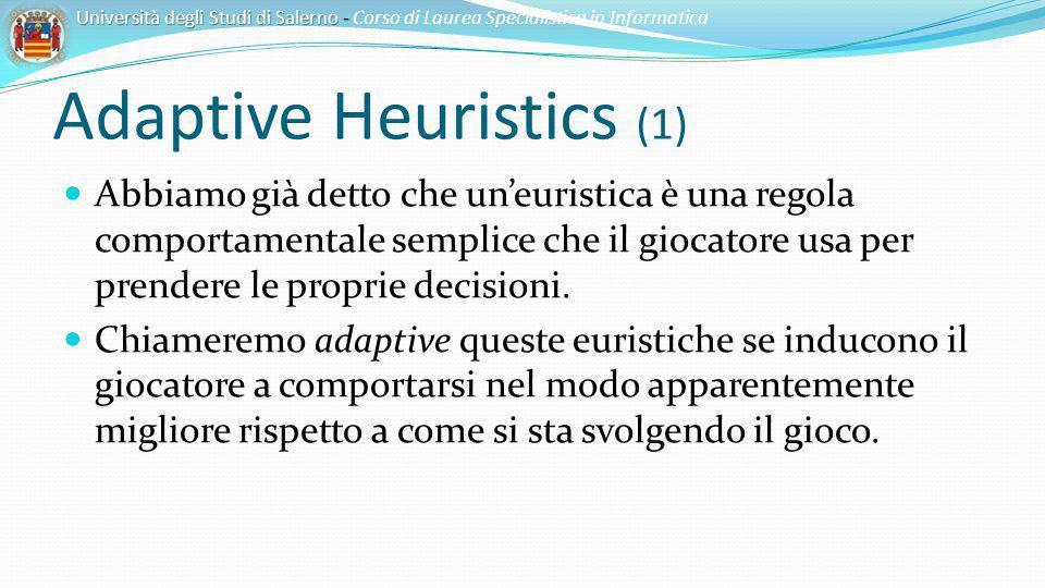 Adaptive Heuristics (1) Abbiamo già detto che uneuristica è una regola comportamentale semplice che il giocatore usa per prendere le proprie decisioni