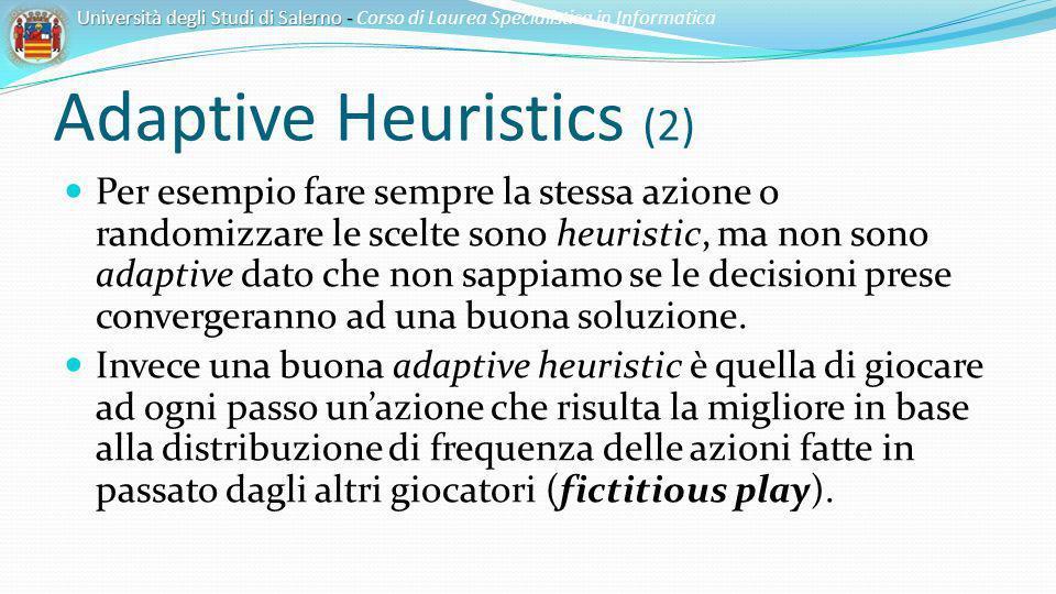 Adaptive Heuristics (2) Per esempio fare sempre la stessa azione o randomizzare le scelte sono heuristic, ma non sono adaptive dato che non sappiamo s