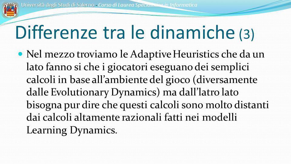 Differenze tra le dinamiche (3) Nel mezzo troviamo le Adaptive Heuristics che da un lato fanno si che i giocatori eseguano dei semplici calcoli in bas