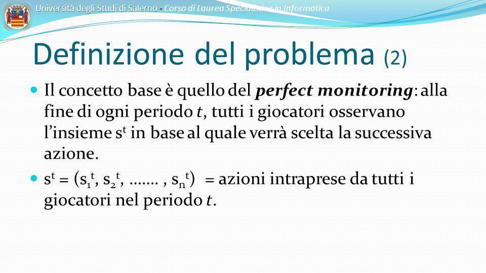 Definizione del problema (2) Il concetto base è quello del perfect monitoring: alla fine di ogni periodo t, tutti i giocatori osservano linsieme s t i
