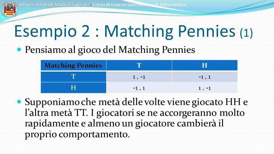 Esempio 2 : Matching Pennies (1) Università degli Studi di Salerno - Università degli Studi di Salerno - Corso di Laurea Specialistica in Informatica