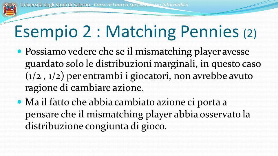 Esempio 2 : Matching Pennies (2) Possiamo vedere che se il mismatching player avesse guardato solo le distribuzioni marginali, in questo caso (1/2, 1/