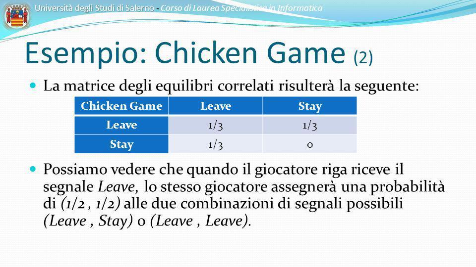 Esempio: Chicken Game (2) La matrice degli equilibri correlati risulterà la seguente: Possiamo vedere che quando il giocatore riga riceve il segnale L