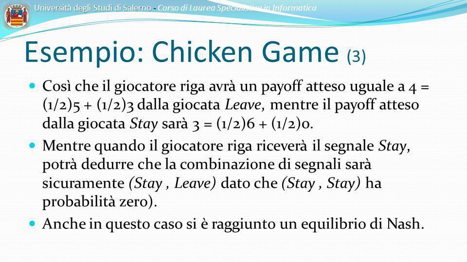 Esempio: Chicken Game (3) Così che il giocatore riga avrà un payoff atteso uguale a 4 = (1/2)5 + (1/2)3 dalla giocata Leave, mentre il payoff atteso d